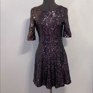 French Connection Purple Sequin Cocktail Dress